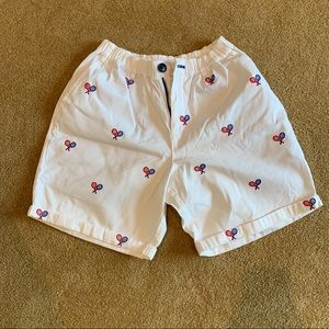 Rufus & Royce White Embroidered Tennis Shorts